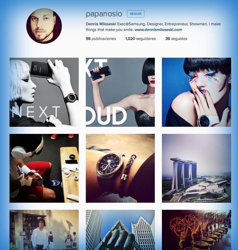 Samsung Gear S2 perfil instagram Miloseski