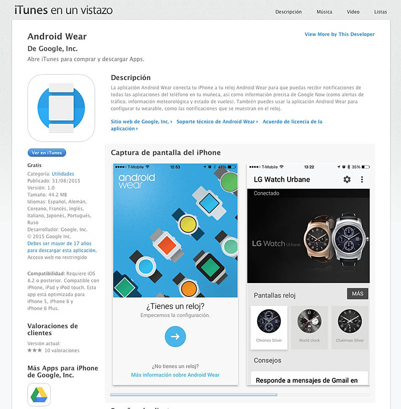 Android Wear para iOS App Store