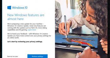 Opciones actualización Windows 10